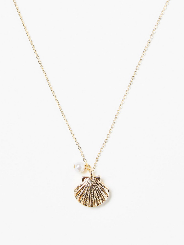 Halsband med guldfärgad snäckberlock Gul