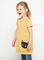 Short sleeve tunic with cats Yellow