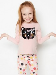Pink top with cat in reversible sequins Pink