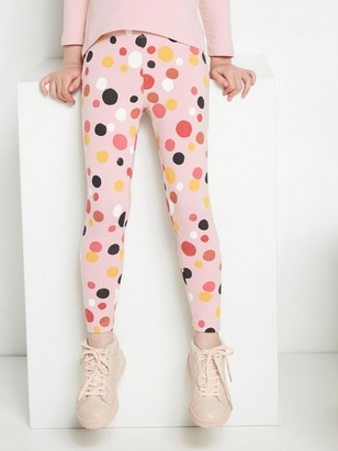 Pink leggings with multicolour dots White