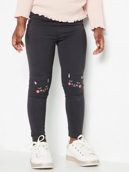 Grå leggings med lapper med katter på knærne Svart