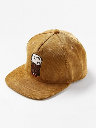 Corduroy cap with Alfie Atkins motif Brown