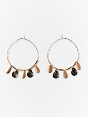 Hoop earrings with drop shaped coins  Yellow