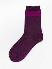 Glitrende sokker med to striper Lilla