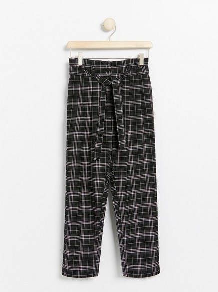 Loose checked trousers with paper bag waist Black