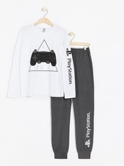 Pyjamas with Playstation print Grey