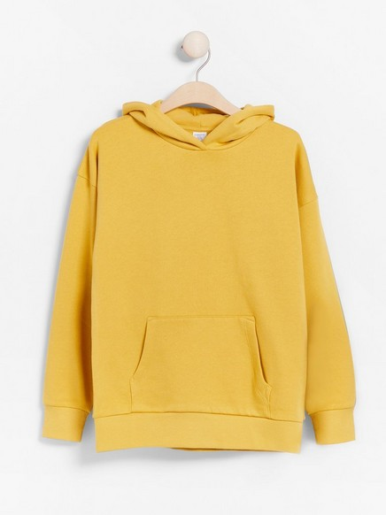 Hooded sweater with brushed inside Yellow