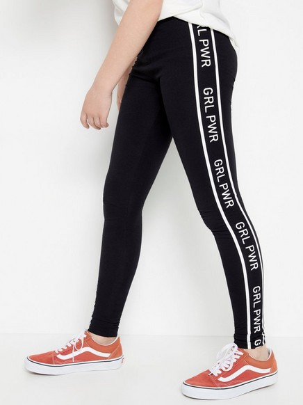 Svarta leggings med GRL PWR-revär Svart