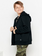Hooded sweatshirt with pile lining  Black