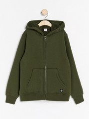 Hooded sweatshirt with pile lining  Green