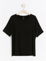 Short sleeve shiny top  Black