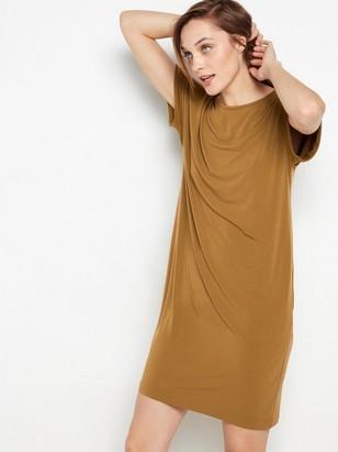 Brun kortärmad klänning Brun