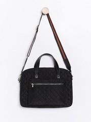 Quilted laptop bag  Black