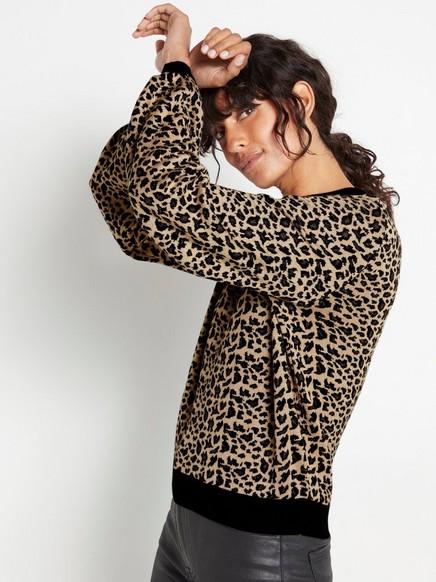 Stickad leopardmönstrad tröja med lurex Beige