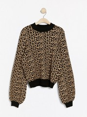 Strikkegenser med leopardmønster og lurex Beige