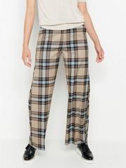 Kostkované kalhoty LYKKE Hnědá