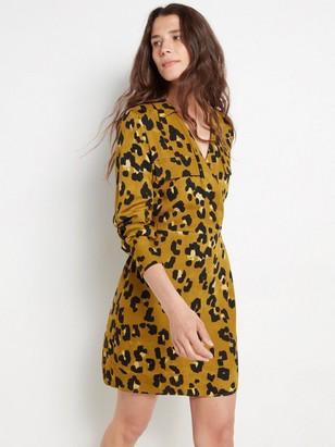 Pitkähihainen mekko, jossa leopardikuvio Vihreä