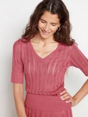 Kortärmad stickad tröja  Rosa