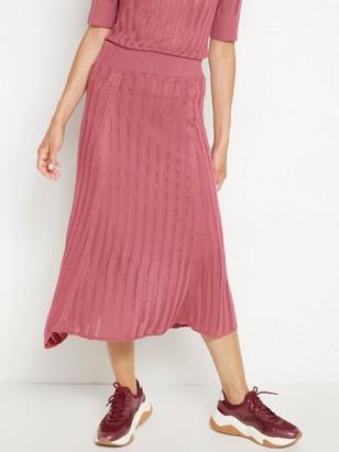 Pletená midi sukně Růžová