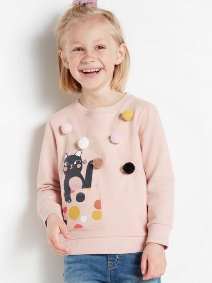 Rosa sweatshirt med pompoms och katt-tryck Rosa