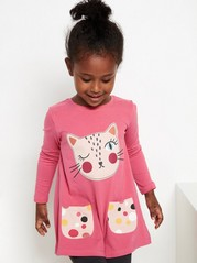 Long sleeve tunic with cat print Red