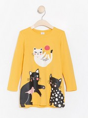 Long sleeve tunic with cat print Yellow
