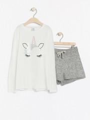 Pyjamas med enhjørningstrykk Hvit