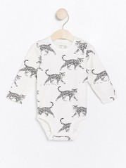 Long sleeve bodysuit with cat pattern White