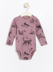 Long sleeve bodysuit with cat pattern Lilac
