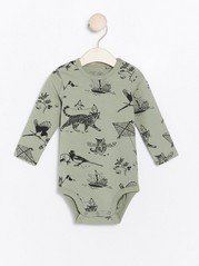 Long sleeve bodysuit with cat pattern Green