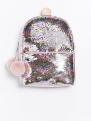 Pink metallic backpack with reversible sequins Pink