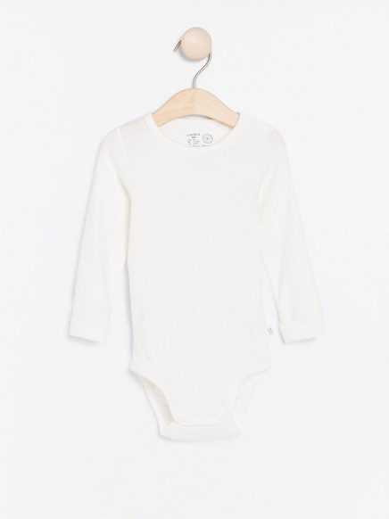 Ribbed bodysuit with long sleeves White