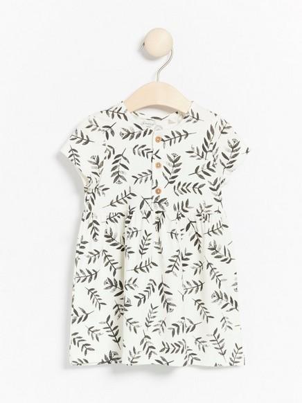 Lyhythihainen kuvioitu trikoomekko Valkoinen