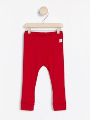 Ribbestrikket leggings Rød
