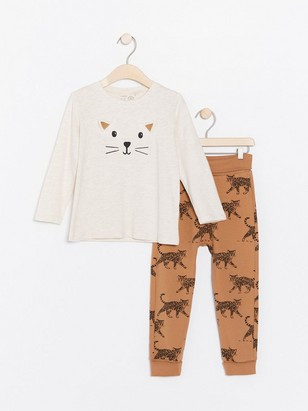 Set with top and trousers with cat motif Beige