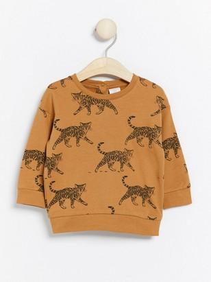 Brun sweatshirt med katter Brun