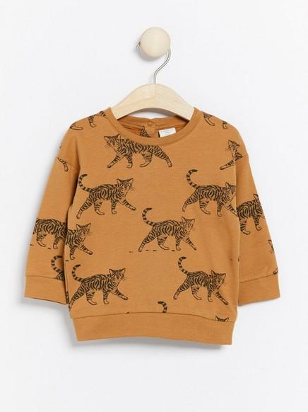 Brun genser med kattetrykk Brun