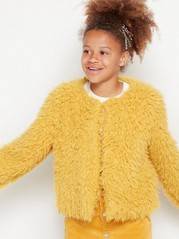 Short fake fur jacket Yellow