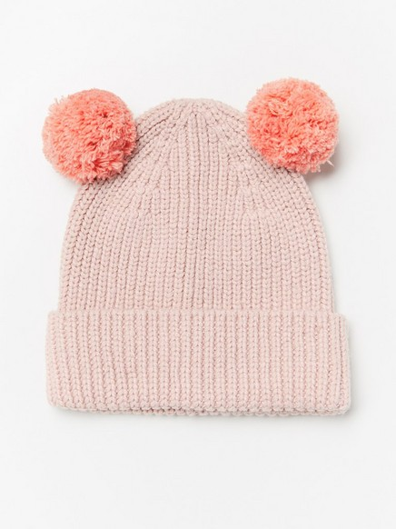 Pletená čepice sbambulkami Růžová
