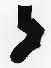 Cable-knit knee highs  Black