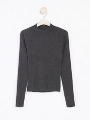 Rib-knit mock neck jumper Grey