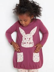 Long sleeve jersey tunic with animal print Pink