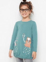 Long sleeve jersey tunic with animal print Turquoise