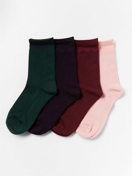 4-pakning med sokker med detaljer med tungekant Lilla