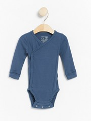 Ribbed wrap bodysuit with long sleeves Blue