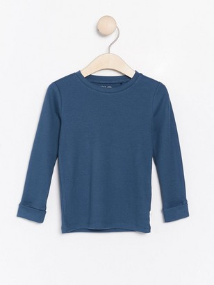 Ribbed long sleeve top Blue