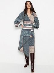 Paisley patterned wrap dress  Blue