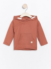 Hooded sweatshirt with double pocket Red