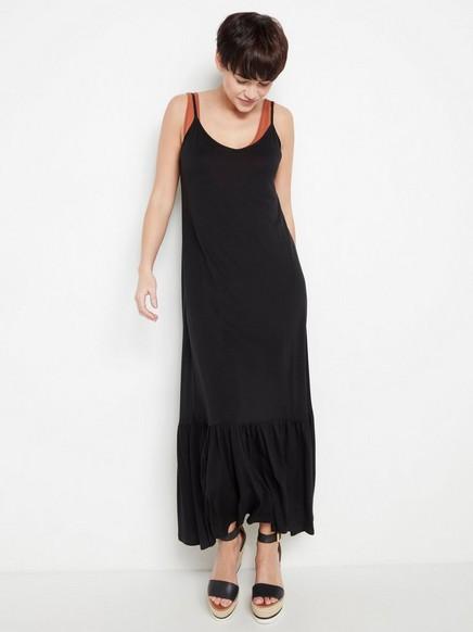 Käännettävä musta mekko lyocell-sekoitetta Musta