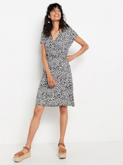 Leo patterned dress in lycocell blend  Grey